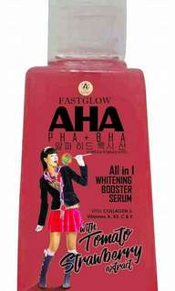 FAST GLOW AHA SERUM PHA + BHA ALL IN 1 WHITENING BOOSTER SERUM with Tomato & Strawberry Extract