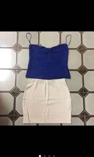 🚚 二手 短背心+短裙(有鬆緊)
