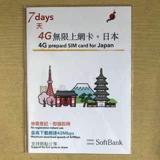 日本 SoftBank 7日無限上網數據卡