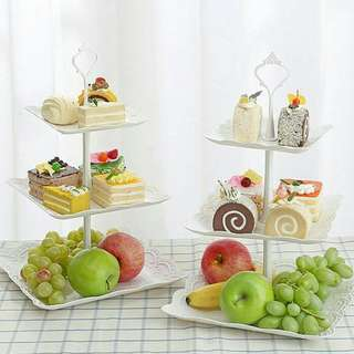 3 LAYER CAKE SQUARE STAND  ready stok