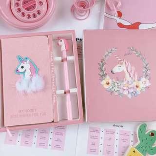 Unicorn themed diary set