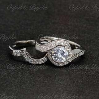 RN208109 Cupid & Psyche Jewellery 戒指 一卡 主石 求婚戒指 鑽戒 18K 鍍鉑金 925silver 蘇聯石 雙拼 戒指 拼戒 戒指套裝 禮物 RING SET