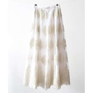 Tulle Lace Maxi Skirt - White & Gold
