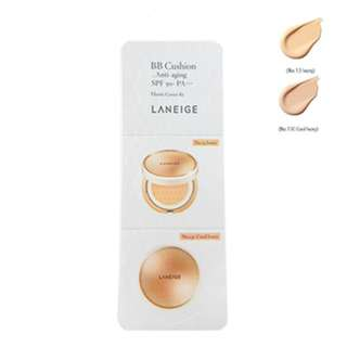 LANEIGE BB Cushion Anti-Aging SPF 50+ PA+++ Trial Size No.13 Ivory 2g & No.13C Cool Ivory 2g