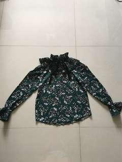 BN Royal Green Floral Long Sleeves Top