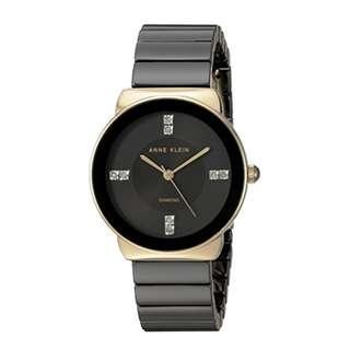 Anne Klein Women's AK/2714BKGB Diamond Accented Gold-Tone and Black Ceramic Bracelet Watch