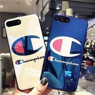 Iphone case韓國Champion藍光鏡面軟膠手機殼