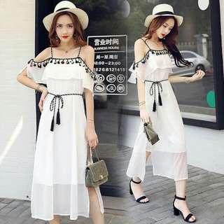 🍃Chiffon Tassel Off Shoulder White Maxi Dress