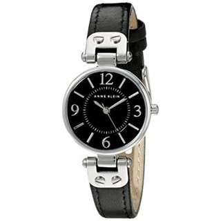 Anne Klein Women's Silver-Tone & Genuine Leather Strap Watch/AK 10/9443BKBK