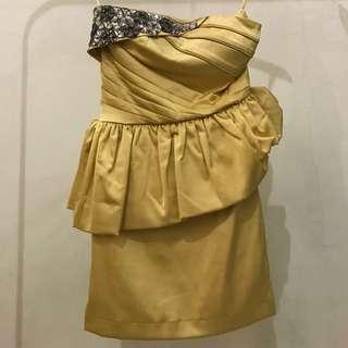Party Dress Gaun yellow mustard