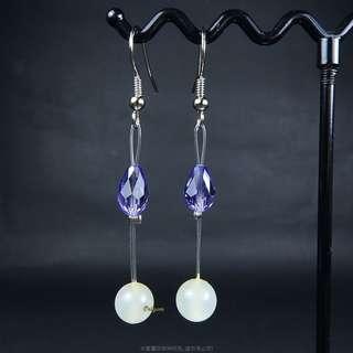 🚚 珍珠林~特價品~A貨7.8MM翠玉水晶紫羅蘭耳環(可改成夾式)#922