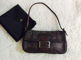 Authentic Fendi Vintage Embroided Baguette Dark brown