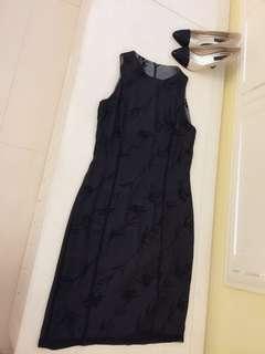 🚚 我的法式優雅 Mango 雪紡畫洋裝 顯瘦