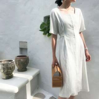 【H.BANDWAGON】淡雅條紋氣質顯瘦收腰蝴蝶結方領A字棉麻洋裝