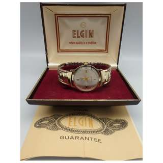 "60""s SWISS Elgin gold tone Hand-winding men watch w/box & cert."
