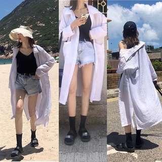夏季薄款白色長袖防曬襯衫女夏季簡約寬松中長款側開叉外搭開衫
