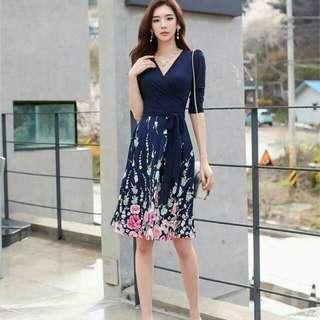 🍃Waisted Belt Elegant Dark Blue Floral Dress