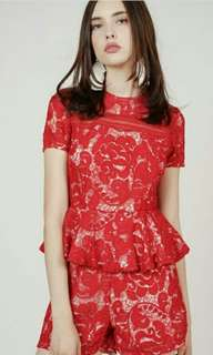 MDS Layered lace romper in red