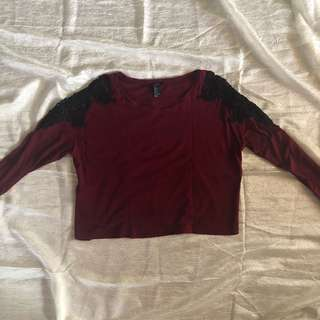 Forever 21 Maroon Long Sleeve Crop Top with Shoulder Lace Detail