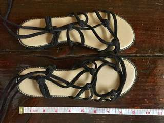 Topshop Black Strappy Slippers