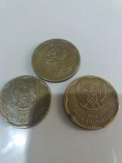 Uang KUNO Logam Rp.500 Th.91,92 ada 3pcs