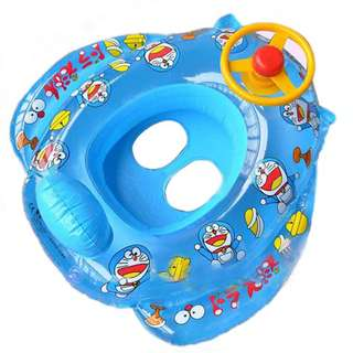 Doreamon Baby Boat Float Swim Ring Inflatable Toddler Kids for Swimming 儿童方向盘喇叭艇加厚充气艇