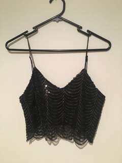 White Fox Boutique Black Sequin Crop