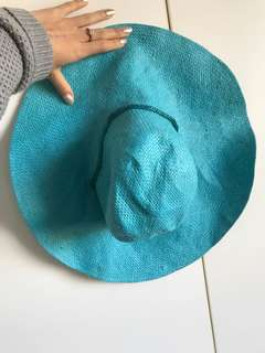 Blue straw hat beaded detail