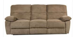 3-seater recliner sofa. Sand brown colour. Fabric