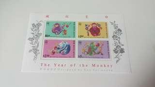 香港郵票 1992壬申猴年 四連張 靚