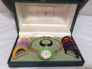 Gucci Authentic Bangle Watch with 12 Interchageable Watch