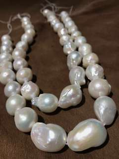 Natural Fresh Water Baroque Pearls (2pcs)