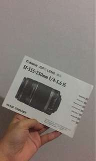 Canon efs lens EF-S55-250mm