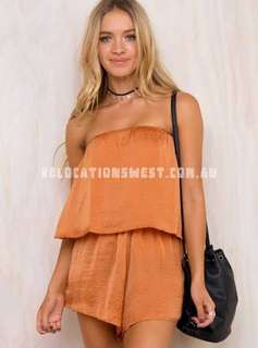 Burnt Orange Strapless Playsuit Princess Polly