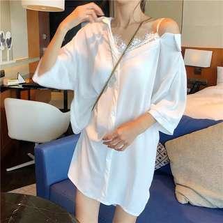 夏季韓國chic拼接蕾絲吊帶漏肩中長款襯衫優雅氣質寬松中袖連衣裙