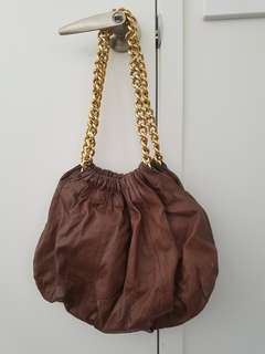 Witchery Womens Bag Soft Brown Leather Gold Detail