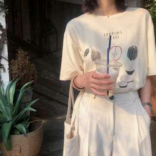 【H.BANDWAGON】法式復古仿舊水果字母印花寬鬆打底圓領棉質短袖T恤