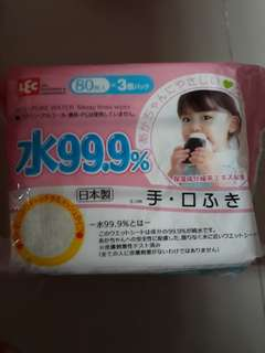 3 packets of 99.9% pure water messy times wipes japan brand LEC hand and mouth wipes 80pcs x 3