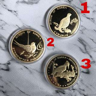 North Korea 3x 20 Won coins