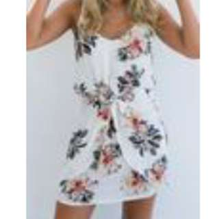 Mura Boutique White Floral Wrap Dress
