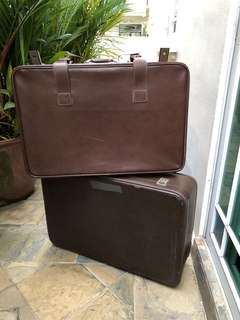 Vintage leather travel luggage