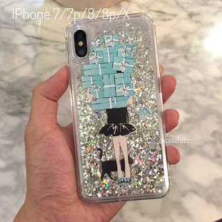 Tiffany colour Glitter iPhone 7/7p/8/8p/X Crystals case