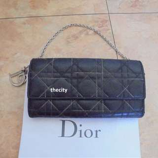 "AUTHENTIC DIOR - ""LADY-DIOR CANNAGE QUILTED"" WALLET ON CHAIN - IN BLACK LAMBSKIN LEATHER - (RETAILS AROUND RM 4000+)"