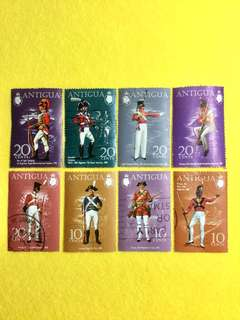1970-1973 Antigua Military Uniforms Series 8 Values Used Short Sets