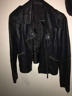 Faux leather jacket black with zips