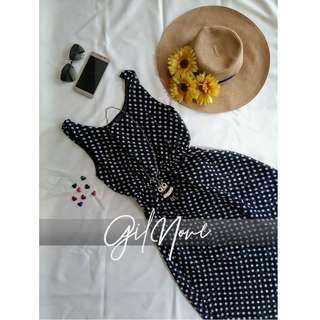 White Polka Dotted Black Sleeveless Maxi Dress