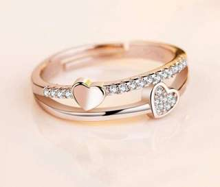 Rose gold double hearts ring (adjustable)