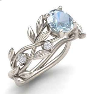 Shiny rhinestone lady ring (aquamarine)