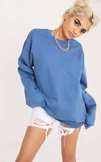 Pretty Little Things Oversized Crewneck Sweater Petrol Blue
