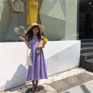 韓系少女風後背繫帶寬鬆垂墜薄款連衣裙夏